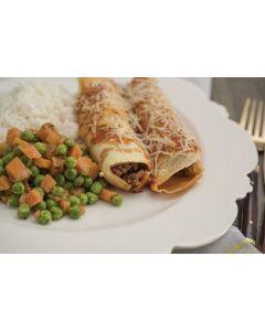 Panqueca de carne, legumes, arroz (400g)