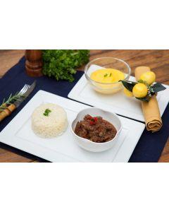 Cubos de filet mignon à Bocadinho, purê de mandioquinha, arroz (450g)