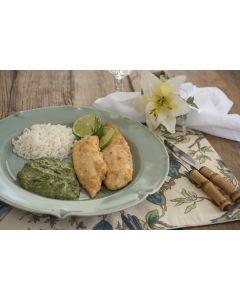 Peixe à doré, creme de espinafre, arroz (400g)