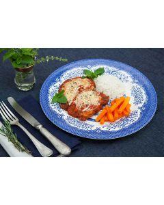Filé de frango à parmegiana, cenoura, arroz (400g)