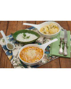 Frango com milho, couve-flor à mostarda, arroz (400g)