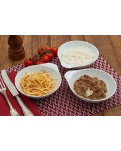 Strogonoff de carne, batata palha, arroz  (400g)