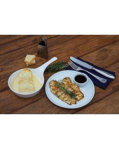 Rondelli de presunto e queijo, frango na chapa  (400g)