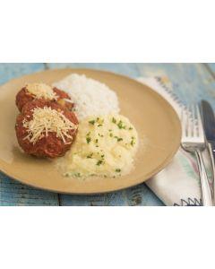 Polpetone, purê de batata, arroz (400g)