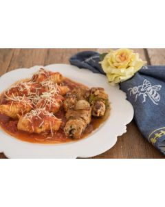 Conchile ao tomato, espetinho de sobrecoxa de  frango  (400g)