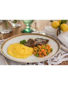 Bife filet mignon, pure mandioquinha, cenoura/ervilha (352 Kcal.) - FIT
