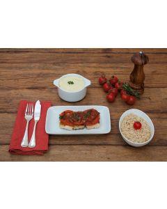 Peixe à brasileira, purê batata , arroz  integral (284 Kcal.) - FIT