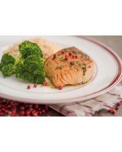Salmão grelhado, brócolis, arroz integral (355 Kcal.) - FIT