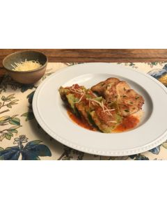 Ravioli de ricota e ervas ao tomato, filé de frango na chapa (404 Kcal) - FIT