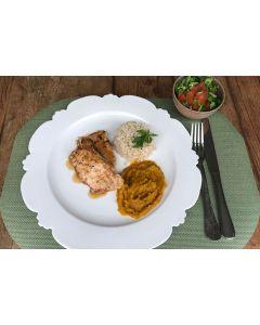 Frango na chapa, purê de abóbora , arroz integral (349 Kcal.) - FIT